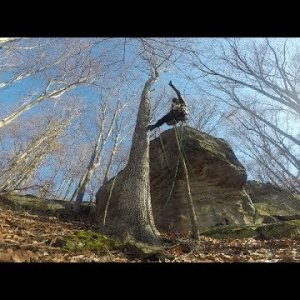 Monkeying Around - Recreational Tree Climbing on a Rocky Hillside