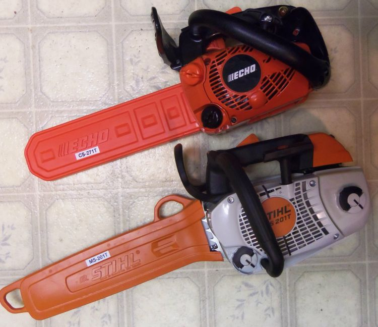 Echo CS-271T and Stihl MS-201T - LEFT SIDE VIEW | The BuzzBoard